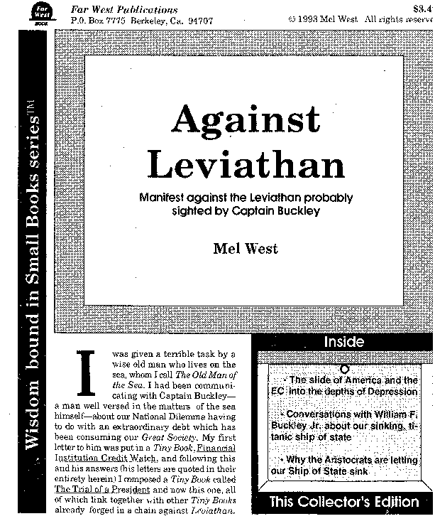 Against Leviathan, a work from part of a conversation with